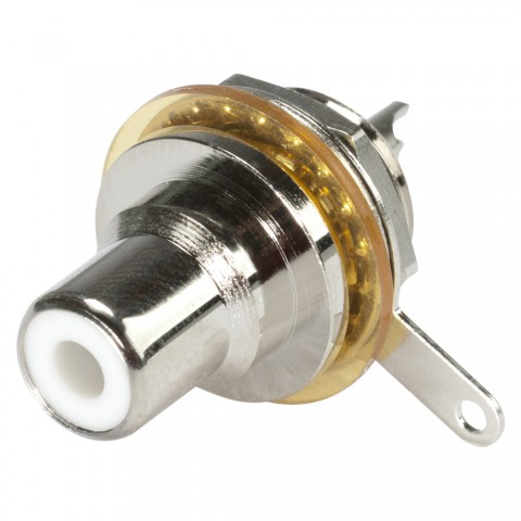 """HICON RCA, 2-pole , metal-, Soldering-female connector, nickel plated contact(s), thread 1/2"""", silver-grey"""