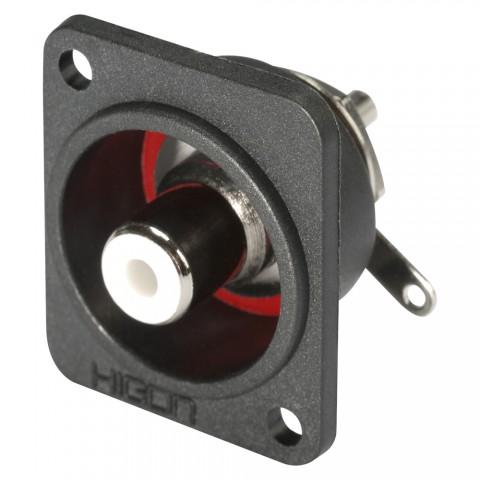 HICON Cinch (RCA), 2-pol , Metall-, Löttechnik-Einbaubuchse, vergoldete(r) Kontakt(e), Type D, schwarz
