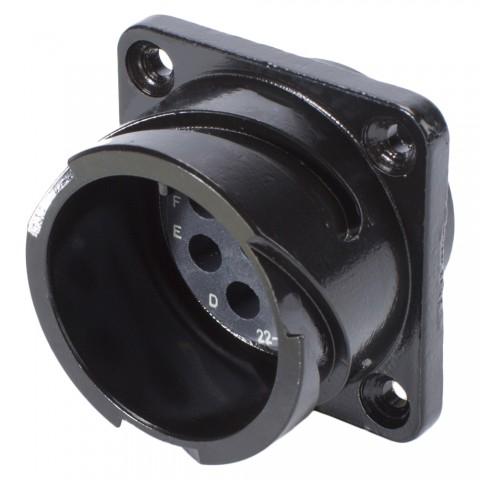 HICON CA-COM komp. Rund-LK, Arrangement 22-23, Kontaktgröße 12, 8-pol , Metall-, Einbaustecker, Bajonet, schwarz