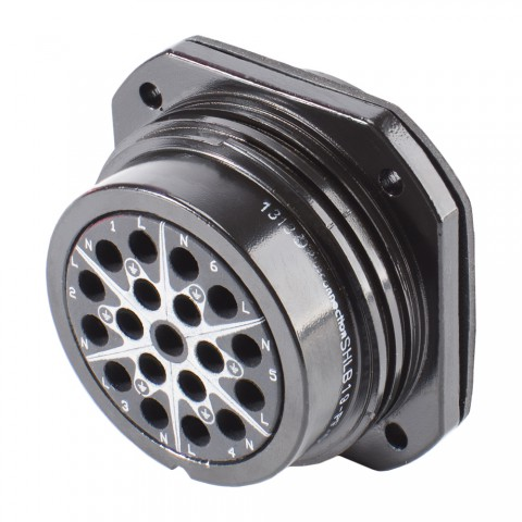 HICON  Round LK 19-pole without pins, compatible with Socapex 419, 19-pol , metal-, Panel socket, screwtop, black