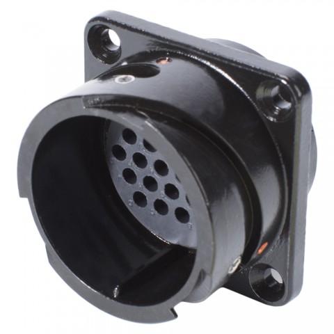 HICON  Round LK, arrangement 24 A – 25, size 16, 25-pole , metal-, Panel connector, Bajonet, black
