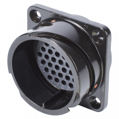 HICON  Round LK, arrangement 28-21, size 16, 37-pole , metal-, Panel connector, Bajonet, black