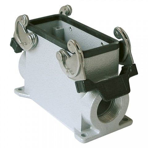 ILME  rectangle MP 16, metal-, Add-on housing, flat, 2 clamps, grey