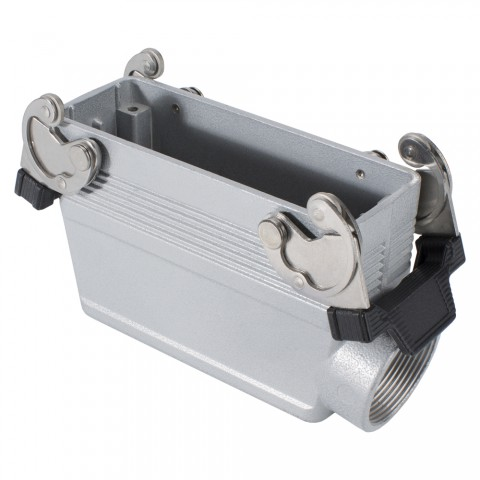 ILME  rectangle MP 24, metal-, Sleeve housing, 2 clamps, grey