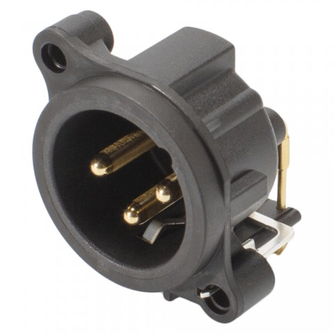 NEUTRIK XLR, 3-pole , plastic-, Horizontal print connection-male connector, gold plated contact(s), Type A, grey