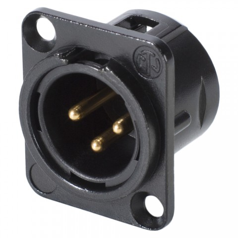 NEUTRIK XLR, 3-pole , metal-, Soldering-male connector, gold plated contact(s), Type D, chrome-plated