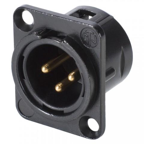 NEUTRIK® XLR, 3-pol , Metall-, Löttechnik-Einbaustecker, vergoldete(r) Kontakt(e), Type D, schwarz verchromt