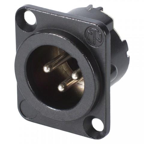 NEUTRIK® XLR, 3-pol , Metall-, Löttechnik-Einbaustecker, versilberte(r) Kontakt(e), Type D, schwarz verchromt