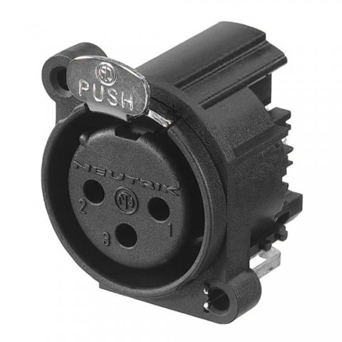 NEUTRIK XLR, 3-pole , plastic-, Horizontal print connection-female connector, gold plated contact(s), Type A, black