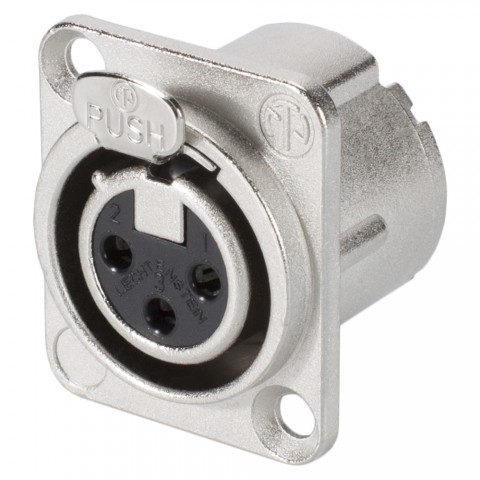 NEUTRIK XLR, 3-pole , metal-, Soldering-female connector, silver plated contact(s), Type D, nickel coloured