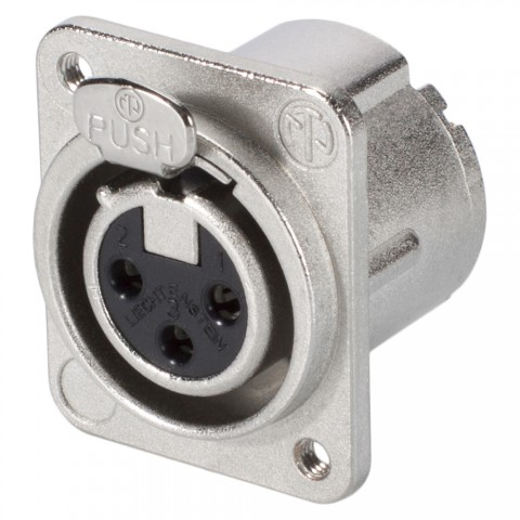 NEUTRIK XLR, 3-pole , metal-, Soldering-female connector, silver plated contact(s), Type D M3, nickel coloured