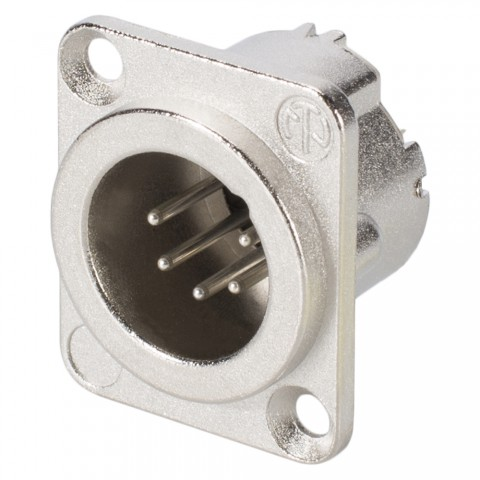 NEUTRIK XLR, 5-pol , metal-, Soldering-male connector, silver plated contact(s), Type D, nickel coloured