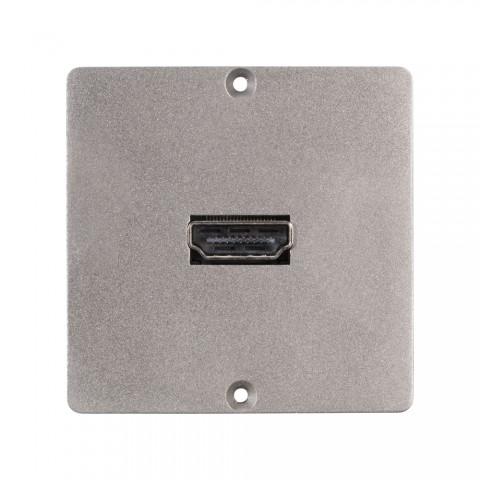 Anschluss-Modul HDMI fem. —> Schraubklemme, Baugröße: 50x50 mm, Edelstahl, Farbe: Edelstahl | W50M-CP-HD-S