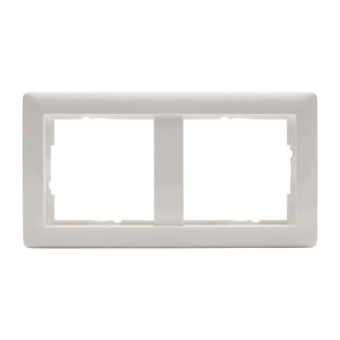 Schalterrahmen 2-fach , Baugröße: 55x55 mm, Kunststoff, Farbe: reinweiß