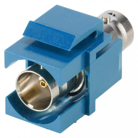 plastic-mountingfemale connector, BNC, 2-pole, nickel plated contact(s), Keystone Clip-In, blue