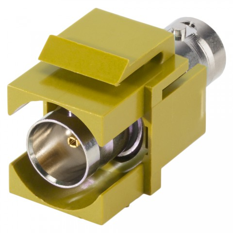 plastic-mountingfemale connector, BNC, 2-pole, nickel plated contact(s), Keystone Clip-In, yellow