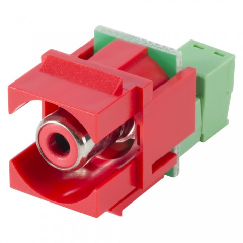 RCA, 2-pole , plastic-, cutting / clamp-, nickel plated contact(s), Keystone Clip-In, red