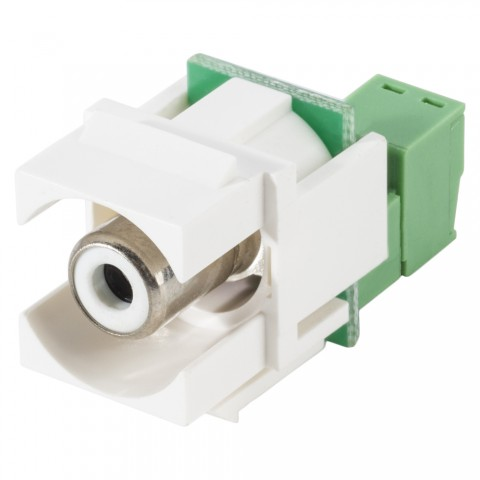 RCA, 2-pole , plastic-, cutting / clamp-, nickel plated contact(s), Keystone Clip-In, white