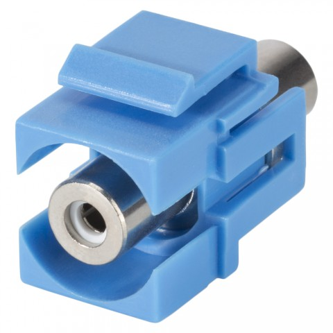 RCA, 2-pole , plastic-, Patch-, nickel plated contact(s), Keystone Clip-In, blue