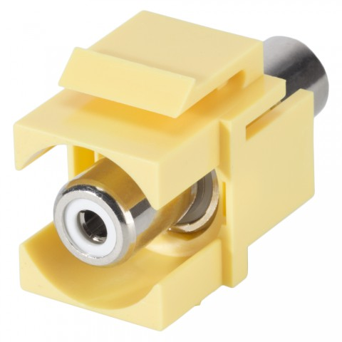 RCA, 2-pole , plastic-, Patch-, nickel plated contact(s), Keystone Clip-In, yellow