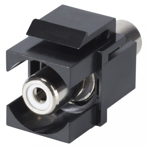 RCA, 2-pole , plastic-, Patch-, nickel plated contact(s), Keystone Clip-In, black