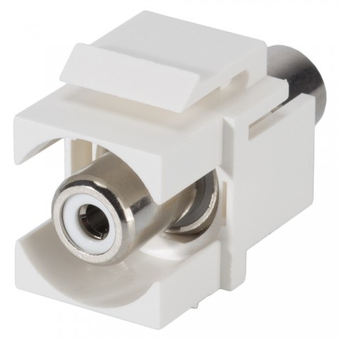 RCA, 2-pole , plastic-, Patch-, nickel plated contact(s), Keystone Clip-In, white