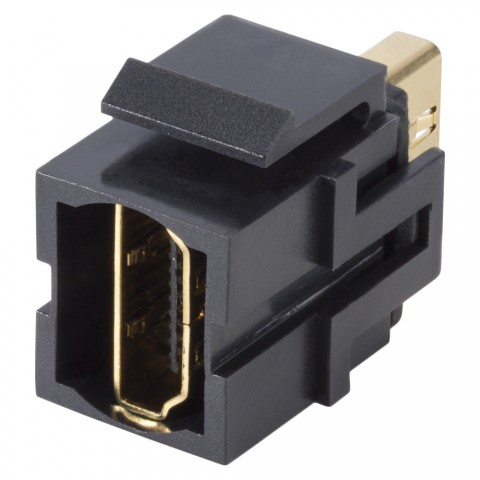 HDMI, 19-pol , plastic-, Patch-, gold plated contact(s), Keystone Clip-In, black