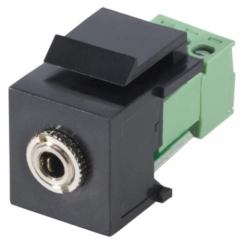 Miniklinke, 3-pol , Kunststoff-, Steck- / Schraubklemme-Einbau, vernickelte(r) Kontakt(e), Keystone Clip-In, schwarz