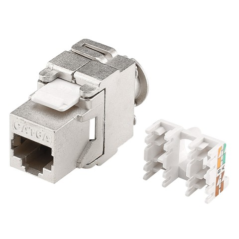 RJ45 CAT.6a, 8-pole , metal-, IDC-female connector, gold plated contact(s), straight, silver-grey