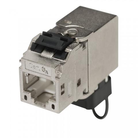 RJ45 CAT.6a, 8-pol , Metall-, Schneid-Klemmtechnik-Einbaubuchse, vergoldete(r) Kontakt(e), Kabelabgang 90° nach unten, silbergrau