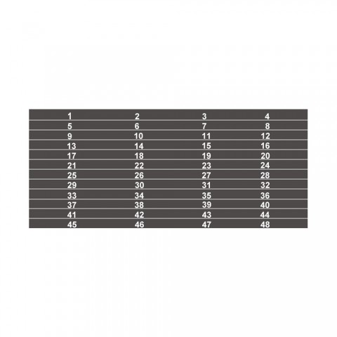 Nummernstreifen 1 - 48, 12 Klebe-Etiketten im 4er Raster auf einem Bogen für SYSBOXX-Bleche mit A / B-Serie
