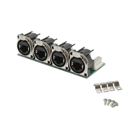 Connector Module 4 x NEUTRIK EtherCON NE8 B-series on LSA clamp (4x2x4-pin), 8-pole , 1 HE, 3 BE, metal-, LSA-clamp (white) 32 x-, gold plated contact(s), nickel coloured, for SYS-series