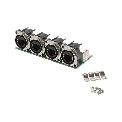 Steckverbinder-Modul 4 x NE8-Serie, 8-pol , 1 HE, 3 BE, Metall-, LSA-Klemme (weiss) 32 x-, vergoldete(r) Kontakt(e), nickelfarben, für SYS-Gehäuseserien
