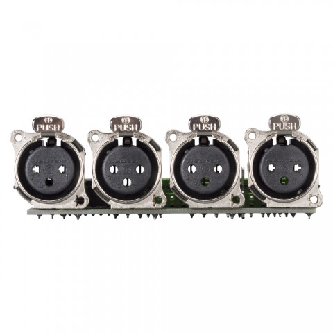 Steckverbinder-Modul 4 x XLR A-Serie female, 3-pol , 1 HE, 3 BE, Kunststoff-, 12 Aufzugklemmen, Flachstecker 14-pol-, versilberte(r) Kontakt(e), schwarz, für SYS-Gehäuseserien