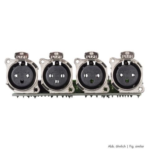 Steckverbinder-Modul 4 x XLR B-Serie female, 3-pol , 1 HE, 3 BE, Metall-, 12 Aufzugklemmen, Flachstecker 14-pol-, versilberte(r) Kontakt(e), nickelfarben, für SYS-Gehäuseserien