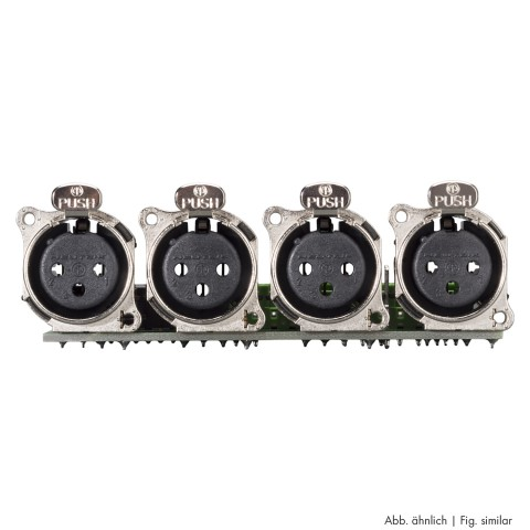 Connector Module 4 x XLR B-Series female, 3-pole , 1 HE, 3 BE, metal-, LSA-clip 12x-, silver plated contact(s), nickel coloured, for SYS-series