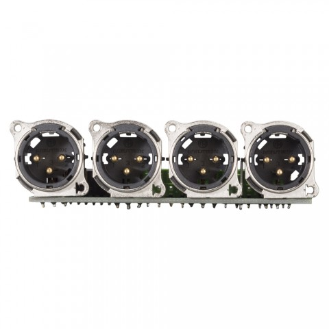 Steckverbinder-Modul 4 x XLR B-Serie, 3-pol , 1 HE, 3 BE, Metall-, 12 Aufzugklemmen, Flachstecker 14-pol-, versilberte(r) Kontakt(e), nickelfarben, für SYS-Gehäuseserien