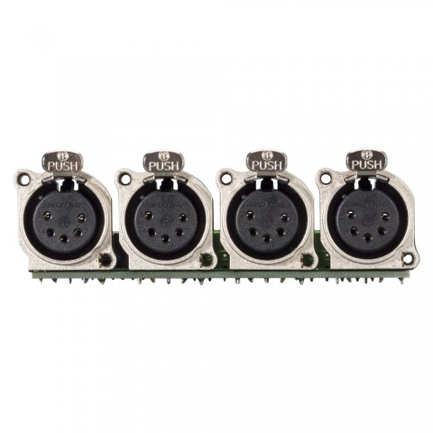 Connector Module 4 x XLR B-Series female, 5-pol , 1 HE, 3 BE, metal-, 20 lift terminals + 14-pole blade terminal-, silver plated contact(s), nickel coloured, for SYS-series
