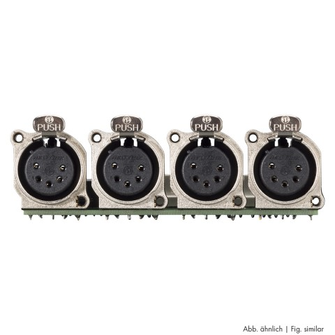 Connector Module 4 x XLR B-Series female, 5-pol , 1 HE, 3 BE, metal-, LSA-clip 12x-, silver plated contact(s), nickel coloured, for SYS-series