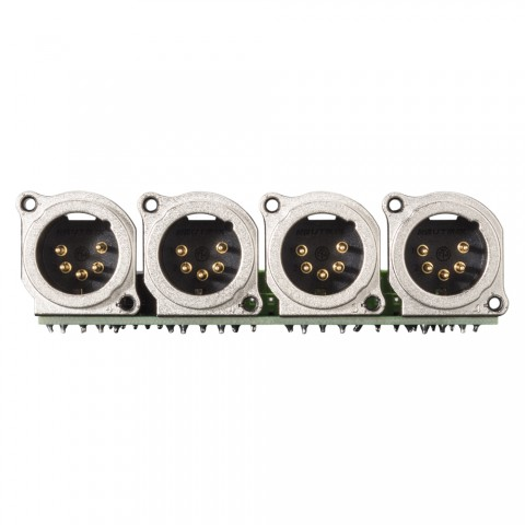 Connector Module 4 x XLR B-Series, 5-pol , 1 HE, 3 BE, metal-, 20 lift terminals + 14-pole blade terminal-, silver plated contact(s), nickel coloured, for SYS-series