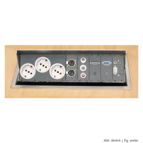 table insert box brushed stainless steel, 2 HE, 9 BE; depth: 193 mm for SYSBOXX-Module, colour: stainless steel