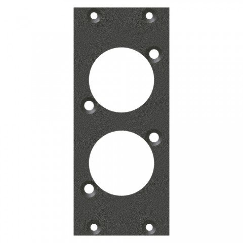 front panel 2 x D-Series cutout, 90° angled, 2 HE, 1 BE for SYS-series, Galvanized sheet steel, colour: anthracite, RAL 7016
