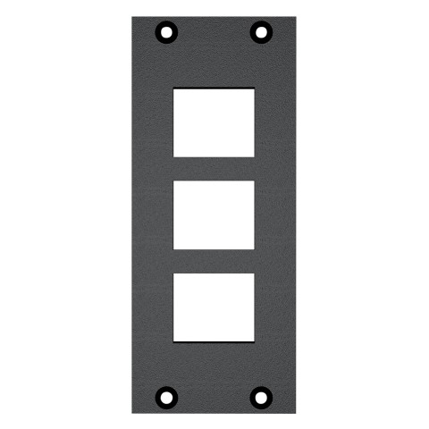 front panel 3 x Cutouts for clip-in modules (Keystrone), 2 HE, 1 BE for SYS-series, colour: anthracite, RAL 7016