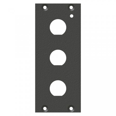 "front panel 3 x 1/2""-Hole (12,5mm), 2 HE, 1 BE for SYS-series, Galvanized sheet steel, colour: anthracite, RAL 7016"