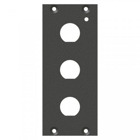"""Frontblech 3 x 1/2""""-Loch (12,5mm), 2 HE, 1 BE für SYS-Gehäuseserien, verzinktes Stahlblech, Farbe: anthrazit, RAL 7016"""