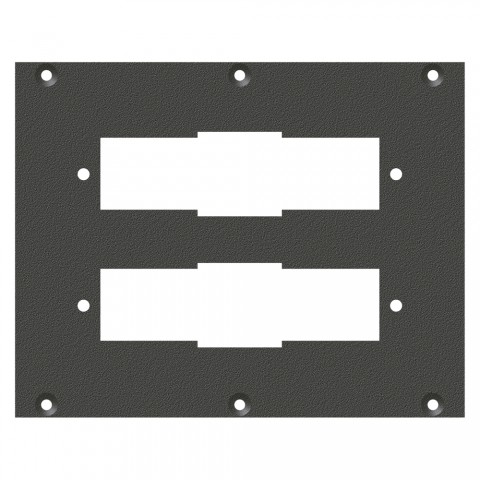 front panel SIEMENS male/female connecting strip, 2 HE, 3 BE for SYS-series, Galvanized sheet steel, colour: anthracite, RAL 7016