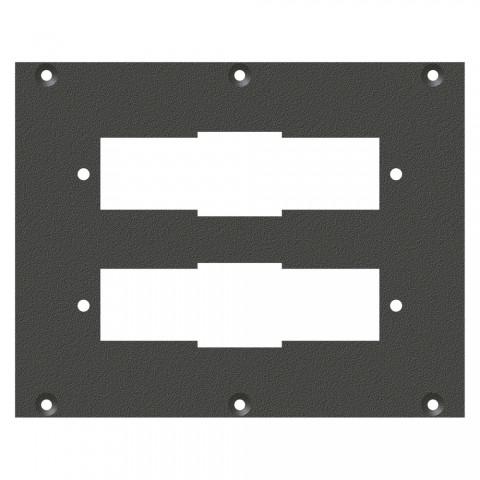 Frontblech Siemens 30-pol-Ausschnitt, 2 HE, 3 BE für SYS-Gehäuseserien, verzinktes Stahlblech, Farbe: anthrazit, RAL 7016