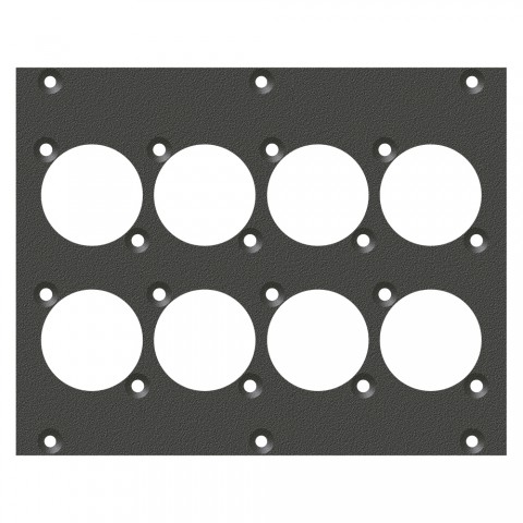 front panel 8 x A / B-Hole, 2 HE, 3 BE for SYS-series, Galvanized sheet steel, colour: anthracite, RAL 7016