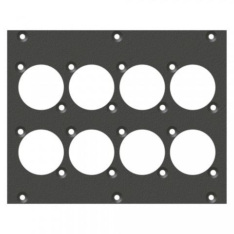 Frontblech 8 x A / B-Loch, 2 HE, 3 BE für SYS-Gehäuseserien, verzinktes Stahlblech, Farbe: anthrazit, RAL 7016