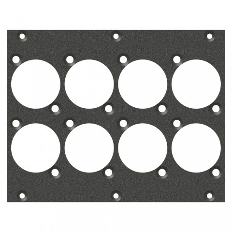 front panel 8 x D-Series cutout, 2 HE, 3 BE for SYS-series, Galvanized sheet steel, colour: anthracite, RAL 7016